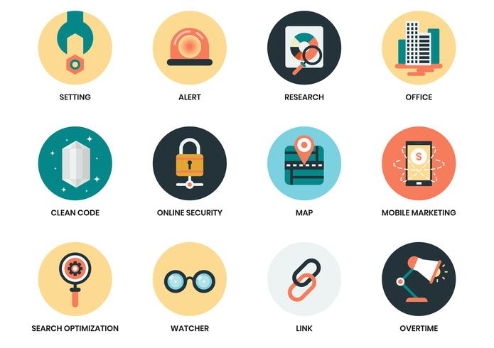 Business icons set for business poster