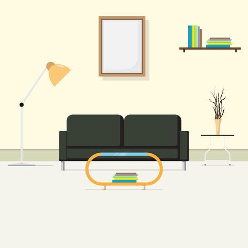 Den bekväma interiören vardagsrummet, rum för mottagande av gäst. soffa och justerbar standard lampa. Inredning och möbler. Platt stil vektor