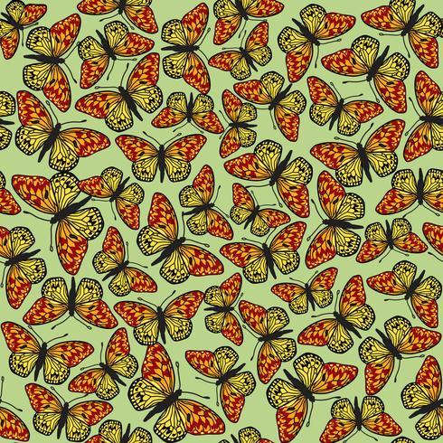 Vlinder naadloos patroon. Zomer vakantie wildlife achtergrond.