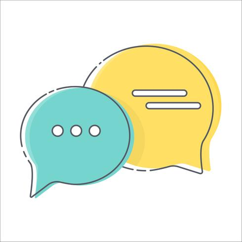 Colorful comment speech bubble thin line icon on white background; vector