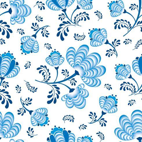 Wirbeln Sie nahtloses Blumenmuster. Dekorativer Flourish in der russischen Art über weißem Hintergrund.