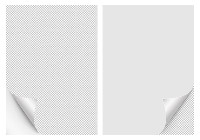Papperskrullade hörn för reklam och försäljning promo. papper med curlhörn för bok med transparent bakgrund.
