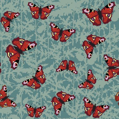 Mariposa de patrones sin fisuras. Fondo de vida silvestre de vacaciones de verano.