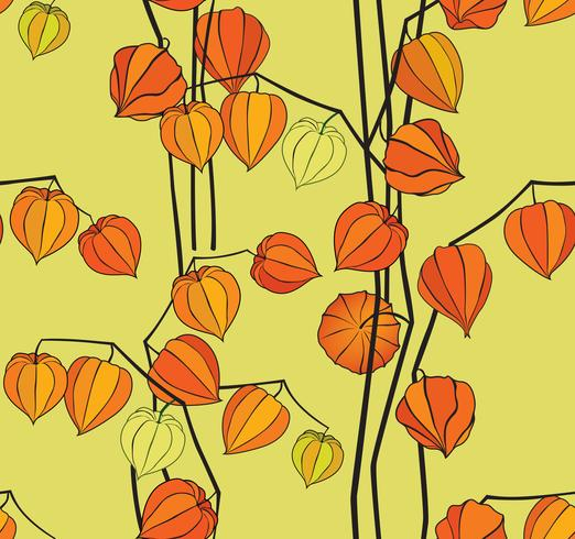 Abstract floral seamless pattern. Winter cherry backdrop vector