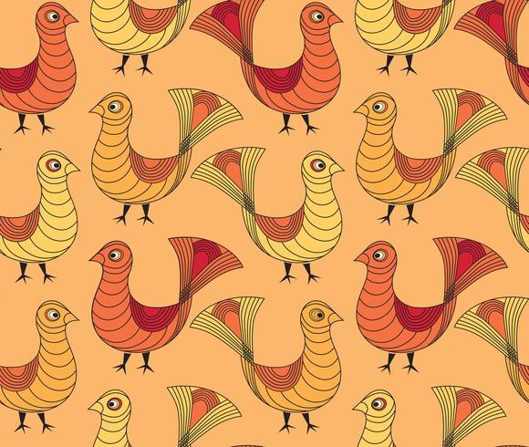 Fågelmönster, Boskap sömlösa dekorativa bakgrund.