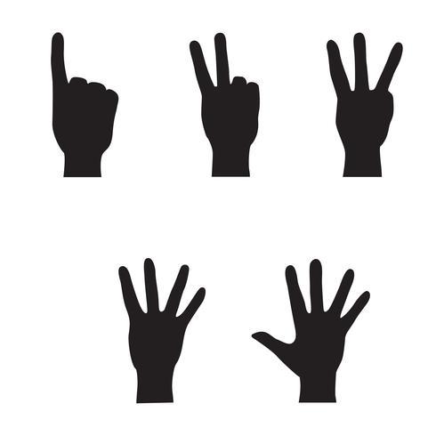 Set di mani. Siluetta di geture di conteggio della mano isolata