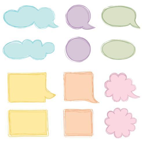 Conjunto de burbujas de discurso. Icono de chat Hoja de papel para elementos de marco de nota