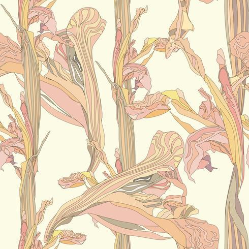 Floral seamless pattern. Flower swirl background. vector