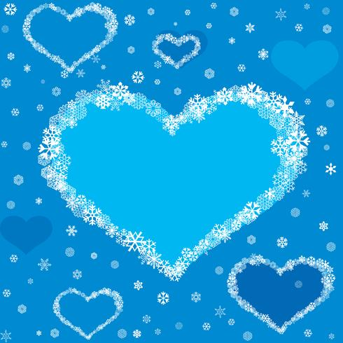 Holiday card design snow heart frame. Christmas snowy greeing