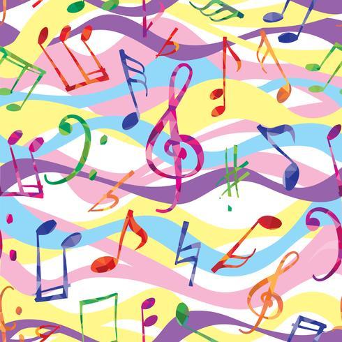 Modello musicale Note e segni di musica senza cuciture vettore