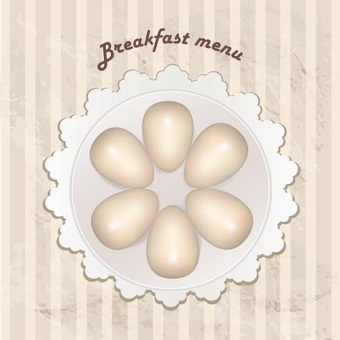 Menú de desayuno con huevos cocidos sobre patrones retro sin fisuras.