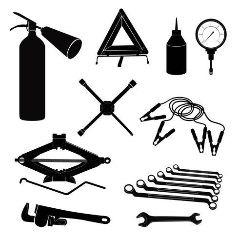 Automatiska tjänsteikoner. Reparera bil på vägen. garage service verktyg set.
