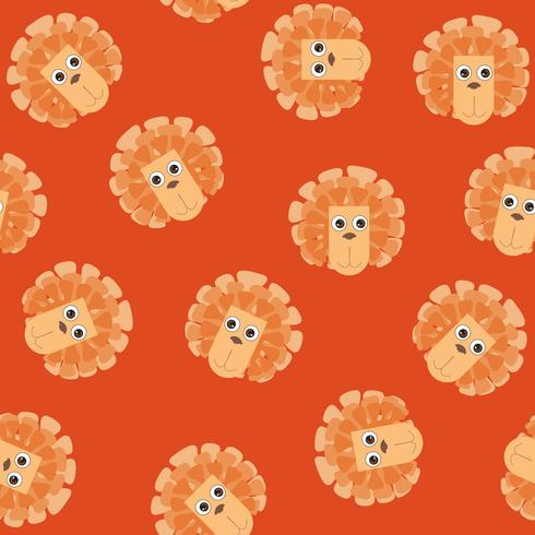 Cartoon animal lion heard seamless pattern. kid toy tile background