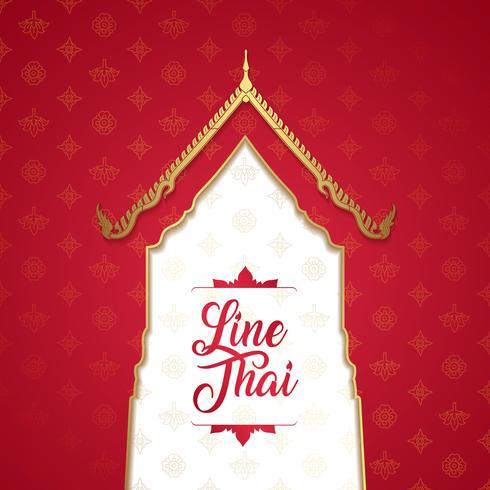 Templo de lujo de arte tailandés, patrón de fondo decoración para la impresión, volantes, carteles, web, banner, folleto y concepto de tarjeta ilustración vectorial