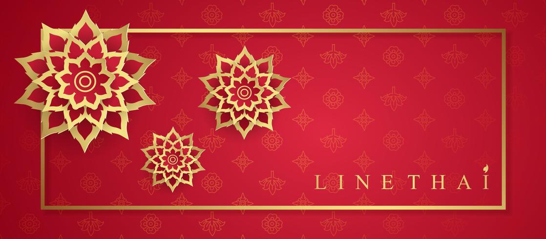 Templo de lujo de arte tailandés, patrón de fondo decoración para la impresión, volantes, carteles, web, banner, folleto y concepto de tarjeta ilustración vectorial vector