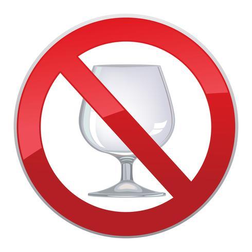 No hay señal de alcohol. Icono de prohibición. Etiqueta de licor Ban