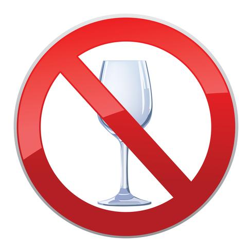 No alcohol drink sign. Prohibition icon. Ban liquor label vector