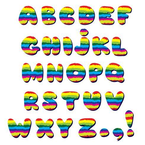 Alfabeto. Conjunto de alfabeto de caracteres de letra latina de línea de estilo infantil