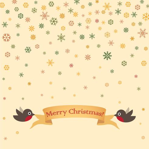Merry Christmas greeting card design. Winter holiday snow background vector