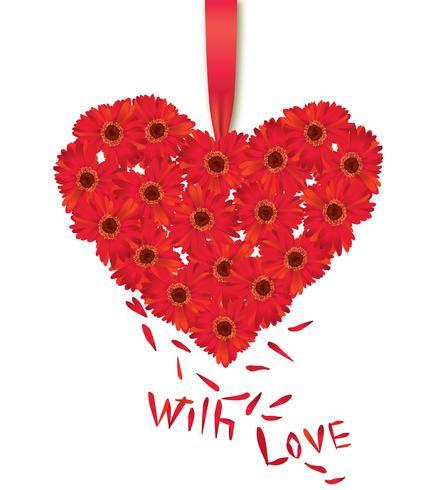 Flower bouquet. Floral heart frame. Flourish summer greeting card. vector