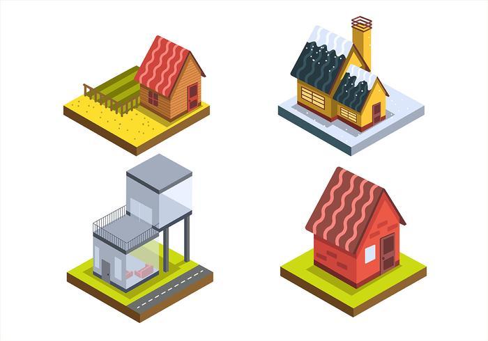 Casa isométrica en diseño plano