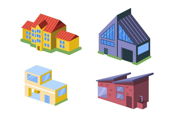 Isometric House in White Background