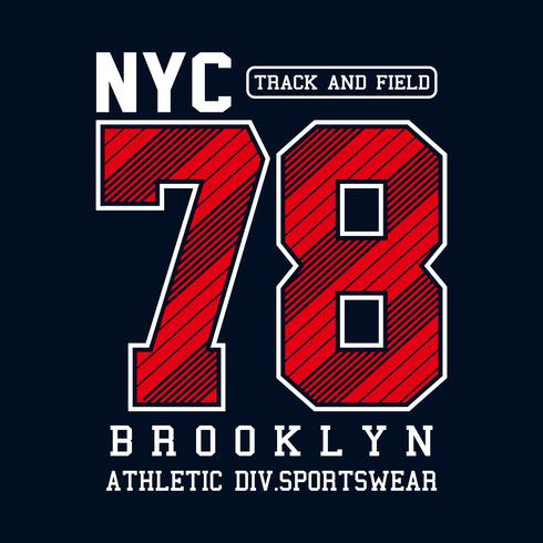 Athletic sport New York City Brooklyn typografie voor t-shirtprint en ander gebruik
