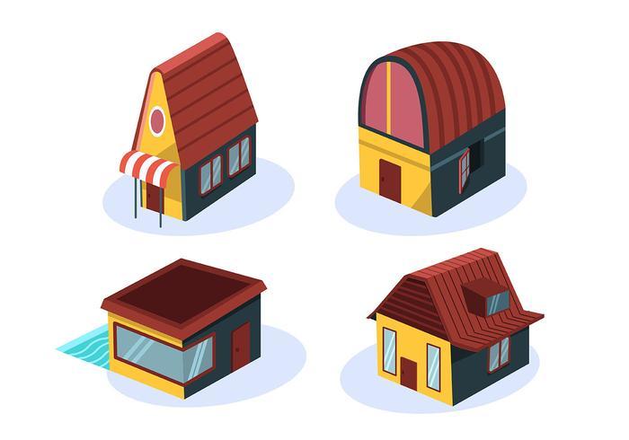 Casa isométrica con techo marrón