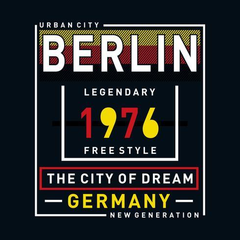 illustrazione di vettore di tipografia di immagini di Berlino per la maglietta
