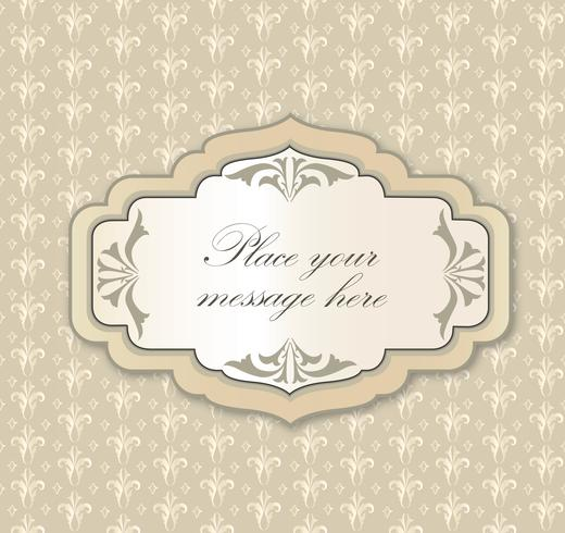 Gentle greeting card frame, invitation over polka dot seamless pattern vector