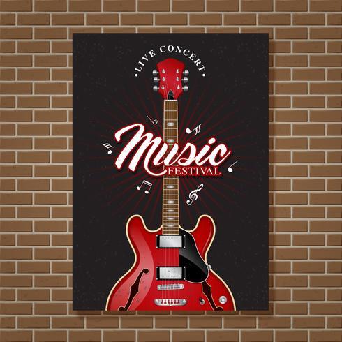 Gitarrenjazzmusikfestivalplakatdesignschablonen-Vektorillustration