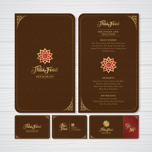 Thailändsk mat och fusionmat restaurangmeny, presentkort och namnkortsdesign mall dekoration för tryck vektor illustration
