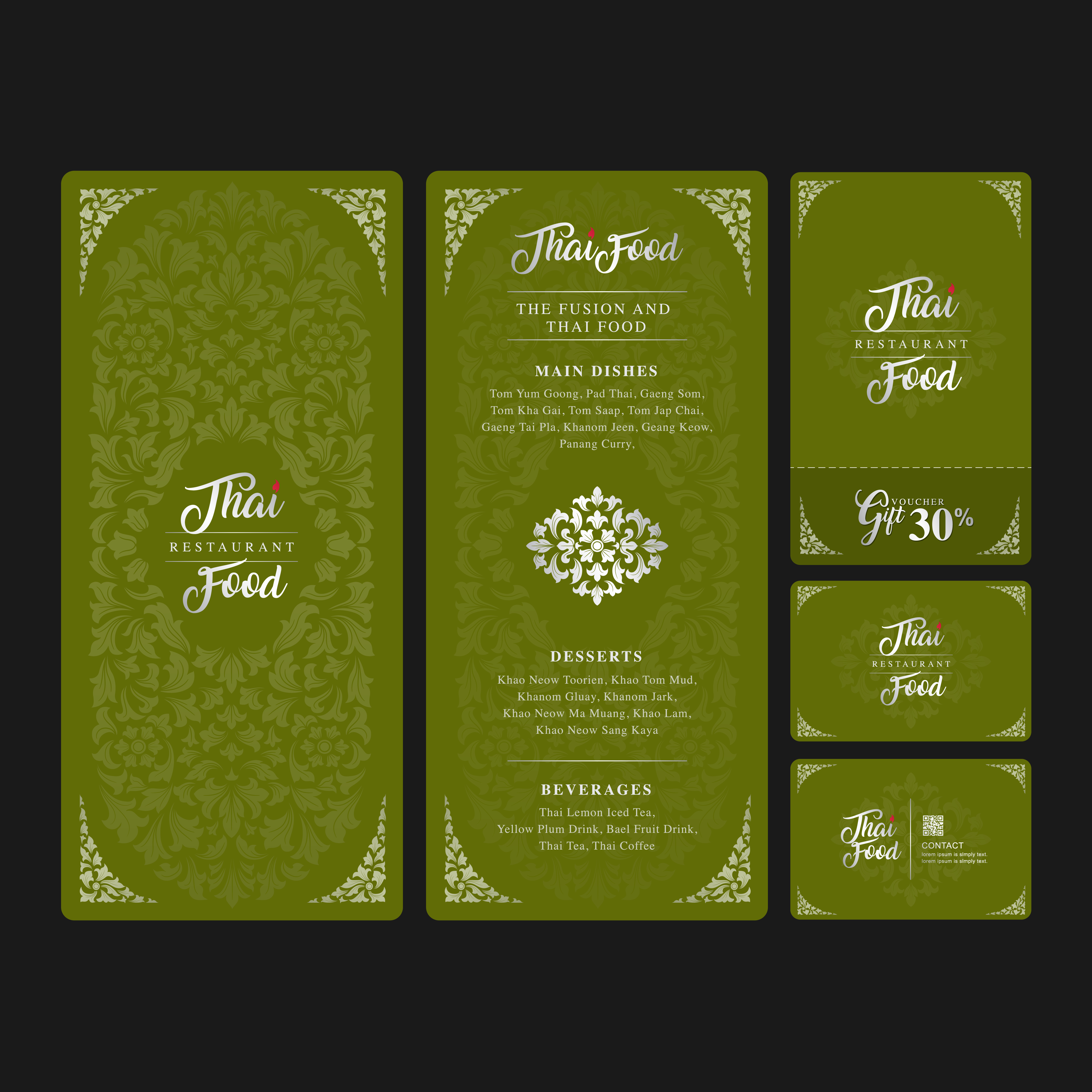 Thai Food And Fusion Food Restaurant Menu Gift Voucher And Name Card Design Template Decoration For Printing Vector Illustration Download Free Vectors Clipart Graphics Vector Art