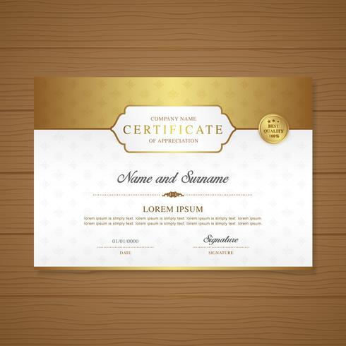 Certificat et diplôme de luxe d'appréciation et illustration vectorielle de modèle moderne design