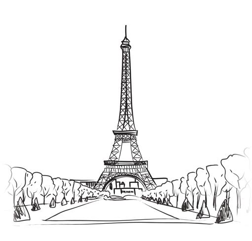 Paris city landscape. Famous landmark Eiffel tower. Travel France. vector