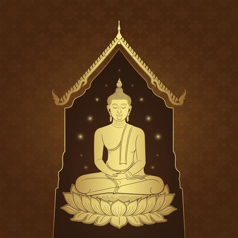 Thai art buddha temple and background pattern vector illustration