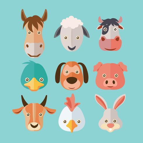 Cara de conjunto de granja de animales