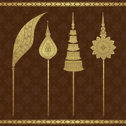 Temple de l'art thaïlandais de luxe et illustration vectorielle motif de fond