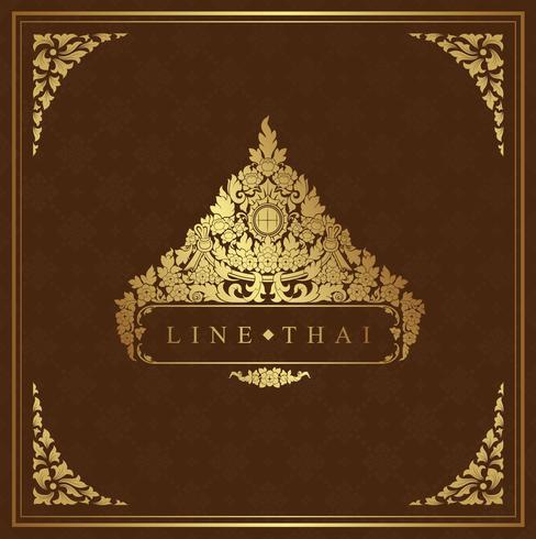 Arte tailandés, templo, decoración de patrón de fondo para volantes, cartel, web, banner, etiqueta y tarjeta de ilustración vectorial