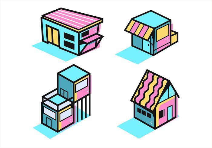 Casa isométrica em linhas grossas