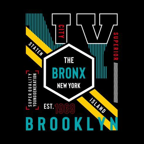 NY Brooklyn Typography Design, Gráfico De Camisetas