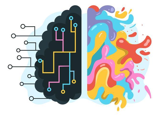 Mensch Brain Hemisphere auf weißem Bakcground