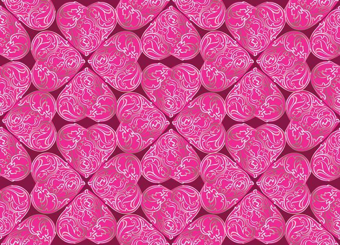 Amor corazón doodle de patrones sin fisuras día de San Valentín azulejo vacaciones ornamento vector