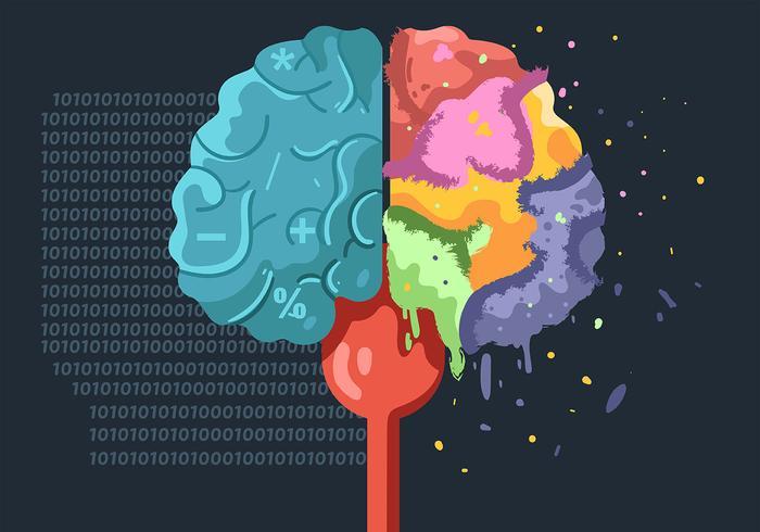 Hemisfério do cérebro humano em fundo escuro vetor