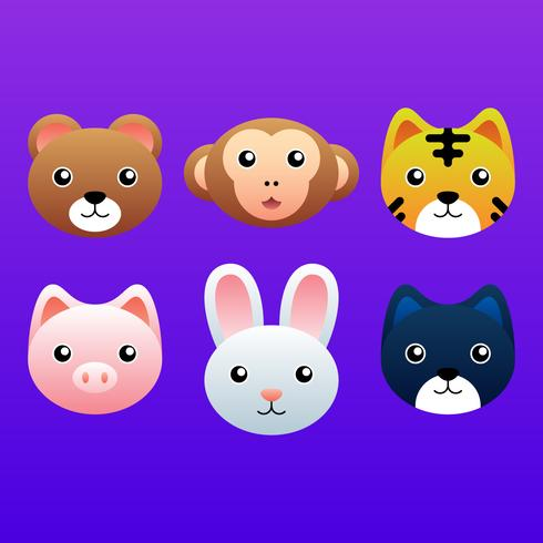 Cute Animal Heads Element Set Illustration
