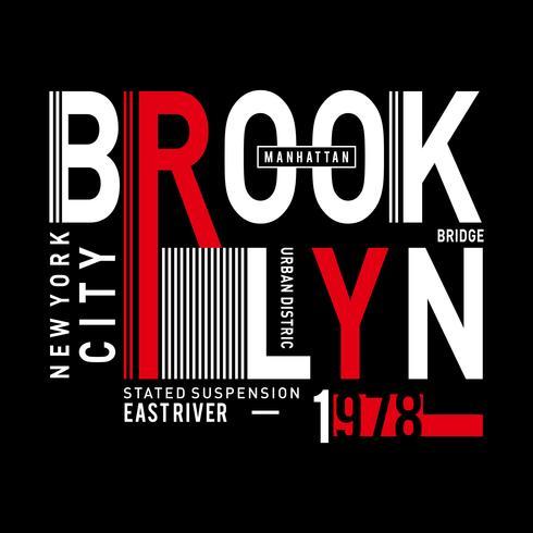 Diseño vectorial tipografía brooklyn para camiseta