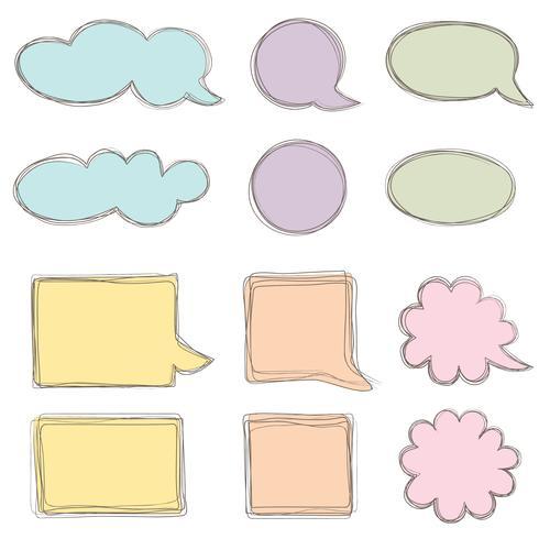 Set di bolle di discorso. Icona della chat. Foglio di carta per gli elementi del telaio della nota