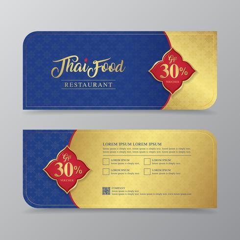 Comida tailandesa y plantilla de diseño de vales de regalo de restaurante tailandés para impresión, volantes, carteles, web, banner, folleto y tarjeta de ilustración vectorial