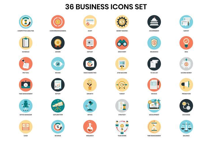 Iconos de negocios establecidos para el negocio