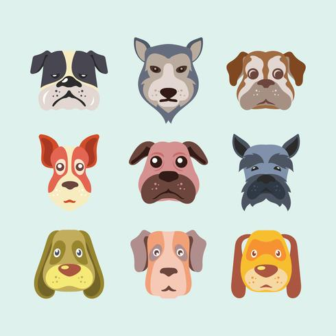 Dog Faces Set vector